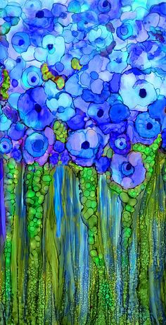 Wild Poppy Garden - Blue Mixed Media by Carol Cavalaris