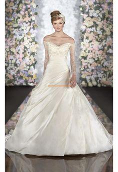 Robe de mariée décolleté avec manches dentelle satin