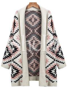 Apricot Long Sleeve Geometric Knit Cardigan Sweater -SheIn(Sheinside)