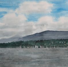 sandysign | Bol d'Or , lac Léman Michel, Tour, Lake Geneva, Vineyard, Watercolor Artists, Watercolor Painting