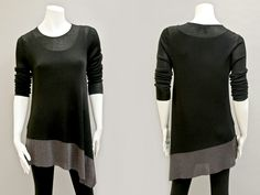"BUYERS NOTES ""This versatile Eileen Fisher tunic is a modern twist on a classic silhouette."" EILEEN FISHER – asymmetrical bottom tunic with wide metallic hem rayon/nylon/viscose in black handwashable Contact BLU'S at shop@blus.com to order #eileenfisher #tunic #black #yeg #yyc #blusonyou #bluswomenswear #fashion #style #designer"