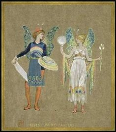 """Framed picture: Walter Crane, """"Elves and Fairy Painters, from 'The Snowman' 1899"""", 70 x 80 - Wood Corum S: Gold: Amazon.co.uk: Kitchen & Home"""