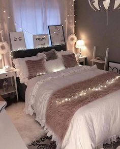 Bedroom for girls cute bedroom ideas; Girls bedroom The post cute bedroom ideas; cozy bedroom id Cute Bedroom Ideas, Room Ideas Bedroom, Girls Bedroom, Bed Room, Stylish Bedroom, Cozy Bedroom, Master Bedroom, Bedroom Romantic, Single Bedroom