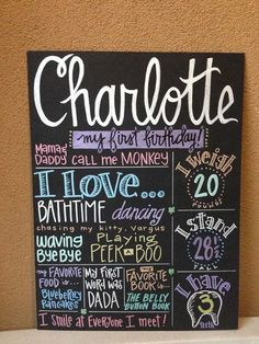 Cute idea for baby girl's first birthday. Pretty pastel colors! Use it in her pictures, then display it at her party. Frame with no glass to look like chalkboard, and hang on wall in her room after that!