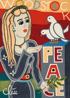 JACQUELINE DITT - Feeding the Woodstock Birds A4 DRUCK n.Gemälde Bilder Peace