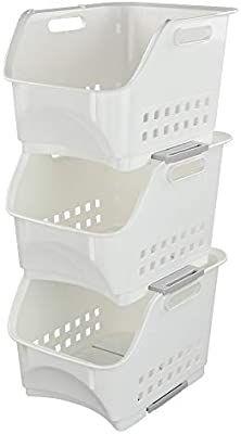 Amazon.com: Nicesh Plastic Stacking Bins, Stackable Storage Basket Trays, White, Set of 3: Home & Kitchen Storage Bins With Lids, Collapsible Storage Bins, Freezer Storage, Decorative Storage Boxes, Under Shelf Basket, Basket Tray, Basket Shelves, Storage Baskets, Spare Room Closet