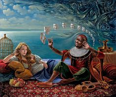 """Art by Michael Cheval _""""Lullaby For Desdemona II""""   30""""x36""""   oil on canvas   2012"""
