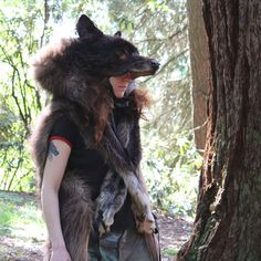 Black wolf headdress created by Lupa