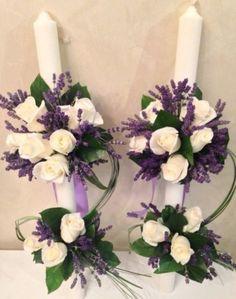 Lumanari nunta, lumanari botez, trandafiri albi, lavanda.