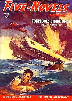 Pulp, Pulp-like, Digests, and Paperback Art, GEORGE ROZEN (American, 1895-1974). Battleship Strike, Five  Novels Monthly, pulp cover, April 1940.