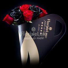 Trandafiri negri Wild si trandafiri rosii Passionate, un buchet care va lasa o amprenta puternica in sufletul ei, pentru totdeauna. Alege doar de aici acest buchet special, cu livrareoriunde in Romania. Buchetul este livrat in bouquet holderul nostru unicat, cu toarte si design fashion statement, creat din 10 trandafiri rosii si 9 trandafiri negri Romantic, Tote Bag, Bags, Elegant, Handbags, Totes, Romance Movies, Romantic Things, Bag