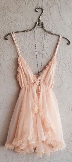 Romantic Paris Boudoir Peach Babydoll Lingerie With Tulle Ruffle Slip And Ribbon Rosette Detail Saved For Goddess - lingerie, blue, ouverte, victoria secret, noiva, baby doll lingerie *ad