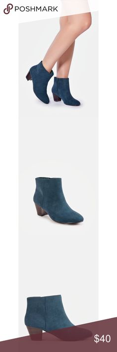 """NWT JustFab Fleur Bootie Brand new in box. A sleek and minimal bootie with a faux stacked heel and inner zip closure.  Color is called """"Winter Green"""" but it is actually blue, as in the picture   Shoe Details Heel Height: 2.0"""" Shaft Height (based on size 8): 3.75"""" Shaft Height Increase or Decrease by 0.5"""" per whole size Extra room across the footbed, ball of the foot and instep Synthetic Upper Man Made Sole Imported Fit: True to Size JustFab Shoes Ankle Boots & Booties"""
