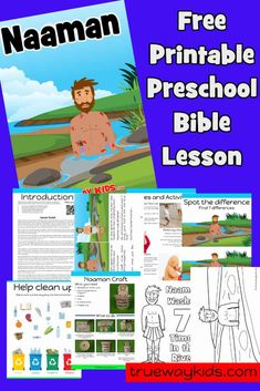 Help your child explore the story of Naaman from 2 Kings 5 with this free printable Bible lesson including crafts, games, worksheets, coloring pages and more. Toddler Bible Lessons, Preschool Bible Lessons, Bible Activities, Bible For Kids, Children Activities, Bible Study Guide, Study Guides, Jacques A Dit, Bible Studies For Beginners