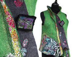 Wearable Fiber Art vrouw Vest - Merino wol zijde Nuno vilt - uitstekende vrouwen kledingstuk - verklaring in Frankrijk Parijs Designer