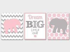 Pink Gray Nursery Elephant Nursery Printable by NauticalDecorShop