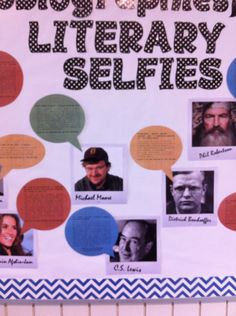 """Literary Selfies {autobiographies} display @ MEI Secondary Library. Faux Polaroids of author and conversation bubble including title of book, summary and """"find it on a the shelf at [call number]""""."""