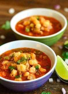 373 Calories- Ridiculously Easy Mexican Pozole (Posole)- The Spice Kit Recipes(Mexican Soup Recipes) Soup Recipes, Dinner Recipes, Cooking Recipes, Healthy Recipes, Hominy Recipes, Cooking Tips, Freezer Recipes, Freezer Cooking, Cooking School