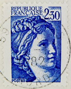 beautiful french stamp France 2.30 Briefmarke Frankreich 2,30 timbre Francaise Marianne France Frankreich RF Postes francaise postage revenu...