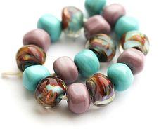 Handmade Lampwork beads organics in Turquiose blue by MayaHoney