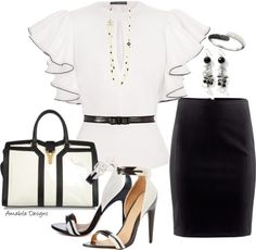 """Black and White work wear"" by amabiledesigns on Polyvore"