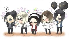 Chibi Aoi, Reita, Ruki, Kai and Uruha, the GazettE. Omg! Sooo cute! Reita trying to eat Aoi's ice-cream! Aww! Lol! And Ruki's face... lol!