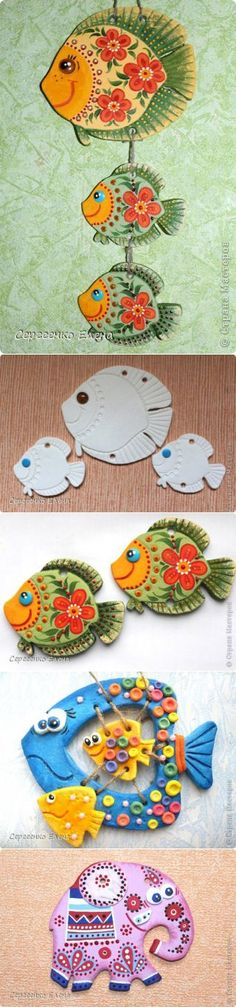 СОЛЕНОЕ ТЕСТО – Hobbies paining body for kids and adult Clay Crafts For Kids, Fish Crafts, Arts And Crafts, Paper Clay, Clay Art, How To Make Clay, Ceramic Fish, Sunflower Tattoo Design, Clay Animals