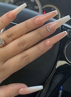 In look for some nail designs and ideas for your nails? Here is our set of must-try coffin acrylic nails for trendy women. Long Square Acrylic Nails, Summer Acrylic Nails, Best Acrylic Nails, Classy Acrylic Nails, Classy Nails, Milky Nails, Aycrlic Nails, Nail Nail, Coffin Nails Ombre