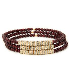 Gigi Chic Hippie Crystal and Mahogany Brown Beaded Bracelet Set