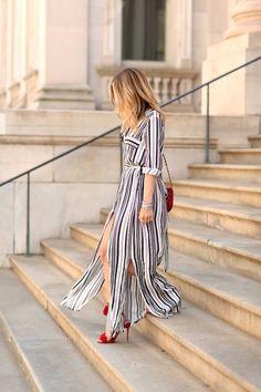 Camisa de Rayas Blanco Y negro Maxi Vestido Largo Maxi Elegante Del Partido Vestidos de Alta Dividir Sexy Maxi Vestido Lazo de La Cintura La Túnica en Vestidos de Moda y Complementos Mujer en AliExpress.com | Alibaba Group