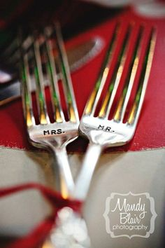Mr. & Mrs. stamped forks! Great for the couple's table or as a shower gift