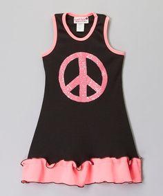 Neon Pink & Black Peace Sign Ruffle Dress - Toddler & Girls by Kash Ten #zulily #zulilyfinds