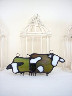 2 stained glass cows set made for hanging by HaloneyRakia on Etsy