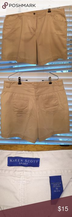 Karen Scott Sport Shorts. Karen Scott Sport shorts, 100% Cotton. Beige. These shorts have been worn about three times. Karen Scott Shorts