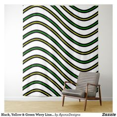 Black Yellow & Green Wavy Lines Pattern Tapestry Your new room redo is only a click away. Tapestry Bedroom, Wall Tapestry, Line Patterns, Different Patterns, New Room, Cool Diy, Bed Spreads, Black N Yellow, Home Accents