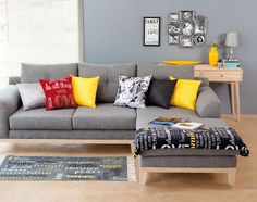 Its All About Urban with Pops of colour! Color Pop, Colour, Urban Looks, Room Decor, Decor Ideas, House Design, Couch, Spaces, Decorating