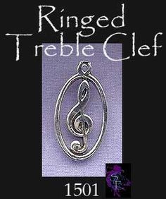 Ringed Treble Clef Pendant, Sterling Silver