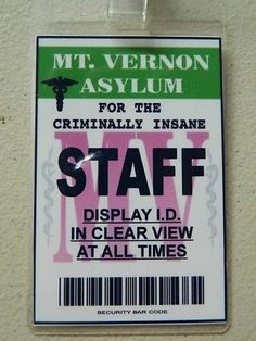 HALLOWEEN COSTUME MOVIE PROP - ID/Security Badges (ASYLUM Badge),