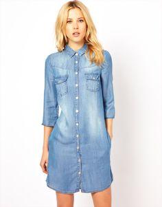 Cheap Vestido botón de la media, manga del rodillo de manga Casual Jean ' s…