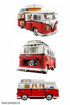 Lego Volkswagen T1 Camper Van. Replica of a classic car in Lego bricks.