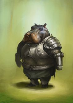 hippo knight by McIdea . Cute Hippo, Baby Hippo, Character Inspiration, Character Art, Character Design, Animals And Pets, Cute Animals, Love Illustration, Creature Feature