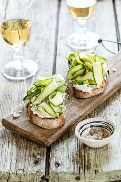 #food #recipes #appetizers #breads and vegetables #brunch ideas - Zucchini & Goats Cheese Bruschetta  by Simply Delicious