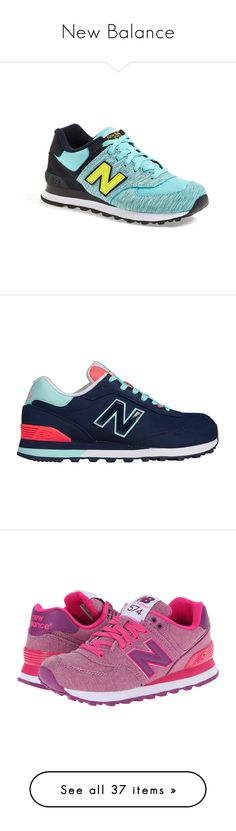 """""""New Balance"""" by fwgianna ❤ liked on Polyvore featuring shoes, sneakers, aqua, laced shoes, laced up shoes, new balance trainers, new balance sneakers, suede lace up shoes, zapatillas and pigment"""