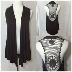 HONOLUA Wahine Crochet Sleeveless Cardigan Beautiful brown sleeveless cardigan by well known Hawaii clothing brand HONOLUA. 94% rayon 6% spandex. Dryclean only. Great use condition. Measurements upon request. Sizes medium, but can easily fit a medium/large. Honolua Sweaters