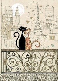 Romantic Cats  | bug art H017 | Black Ink |  Designed by Jane Crowther Each card is embossed with gold foil.