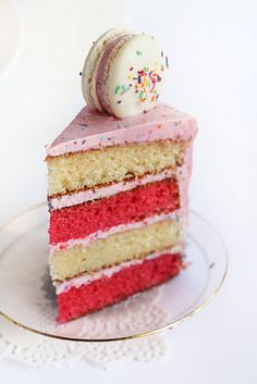 Pink & White Layered Sprinkle Cake with Macarons by raspberri cupcakes, via Flickr