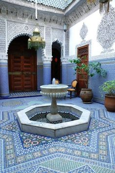 zellige Morocco Marrakech interior of traditional house Moroccan Design, Moroccan Decor, Moroccan Style, Moroccan Pattern, Islamic Architecture, Art And Architecture, Morrocan Architecture, Beautiful Architecture, Moroccan Interiors