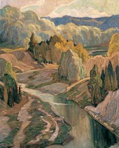 "Franklin Carmichael – was a Canadian artist. He was the youngest original member of the Group of Seven. ""The Valley"" Tom Thomson, Emily Carr, Canadian Painters, Canadian Artists, Landscape Art, Landscape Paintings, Fantasy Landscape, Creative Landscape, Watercolor Landscape"