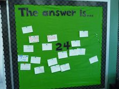 "Higher level thinking - ""The Answer Is..."" bulletin board...could be used as an exit card as well"