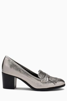 2750e0801 Buy Silver Block Heel Fringe Loafers from the Next UK online shop
